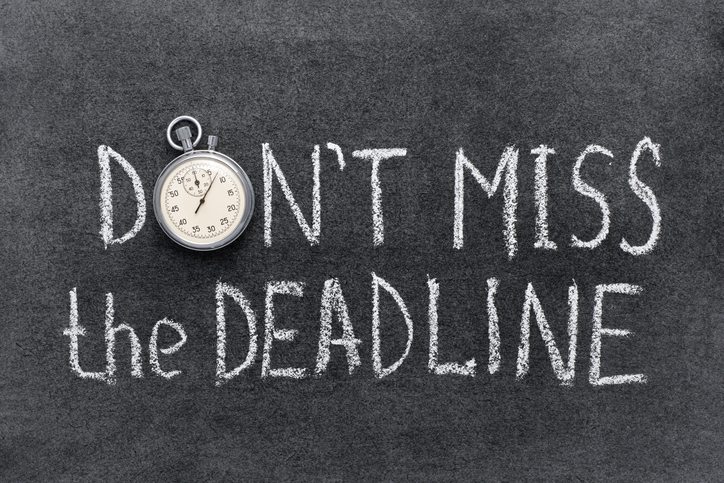 sign saying don't miss the deadline